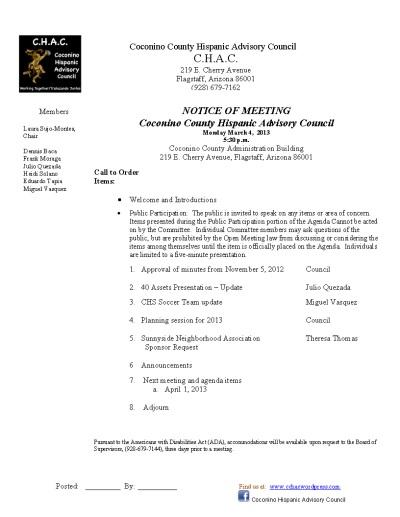 3.8.13 CHAC Agenda