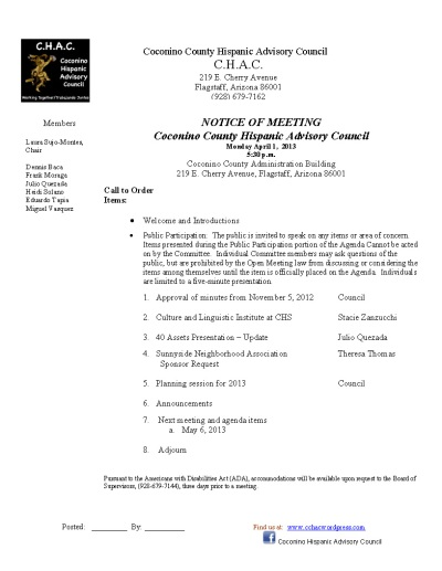 4.1.13 CHAC Agenda