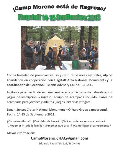 Camp Moreno el 14-15 de septiembre