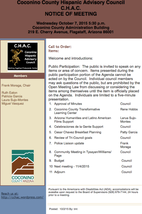CHAC agenda for 10-7-15